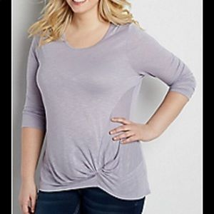NWT Maurices Lavender Tie Front 3/4 Sleeve Top Med